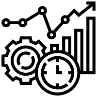 Black and white icon of a line graph showing upward trend, a gear, and a clock.