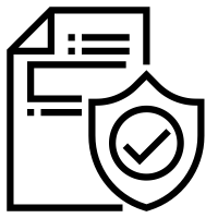 Black and white icon of a document behind a shield with a checkmark on it